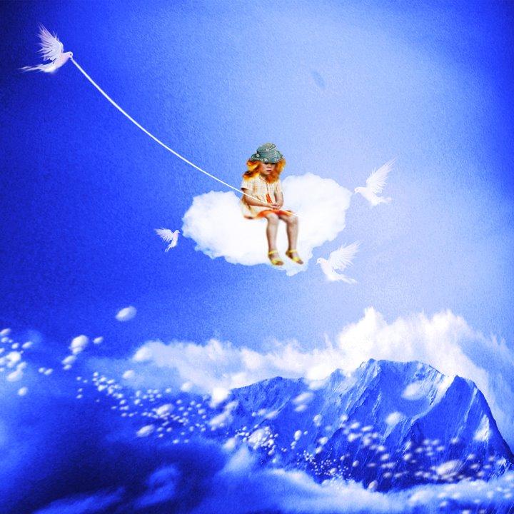 Картинки девочки на облаке