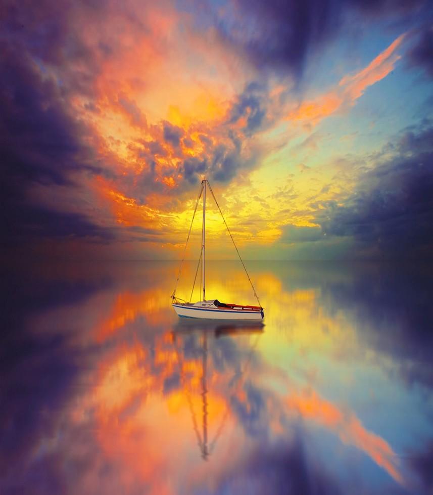 Фото красивого заката на море