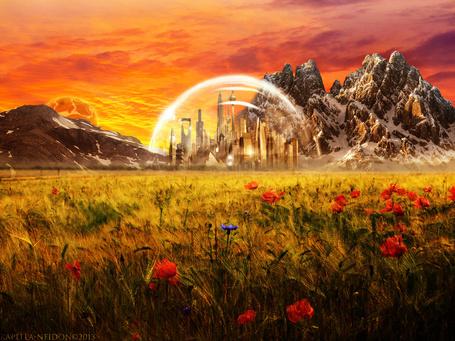 Фото Небольшой город, окутанный прозрачной оболочкой, стоит по среди поля и гор