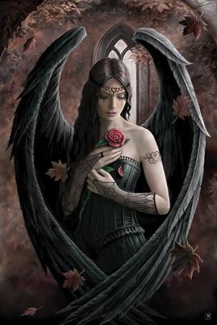 Фото Девушка - ангел с розой в руке