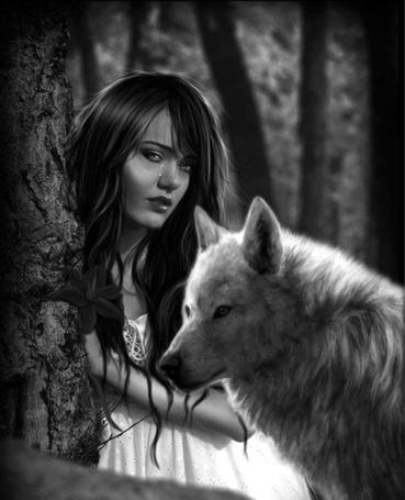 Фото Девушка со слезой на лице стоит у дерева, рядом волк, иллюстратор Lucas Valencio