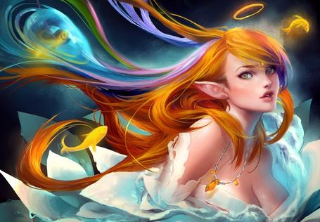 Фото Девушка-эльф с разноцветными волосами и нимбом над головой, в белоснежном платье смотрит в сторону, художник Sakimichan