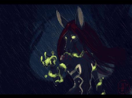 Фото Фэнтезийное существо с красными волосами и обвивающим тело зеленым пламенем, при ударе молнии, лицо которого превращается в череп, идет дождь, художник-иллюстратор Hely
