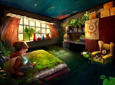Фото Девочка сидит в комнате на кровати, на которой растет трава, смотря телефон, художник Yufei