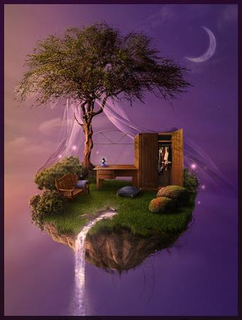 Фото Островок в невесомости на котором растет дерево стоит скамейка, стол и шкаф (© Флориссия), добавлено: 08.07.2013 21:39