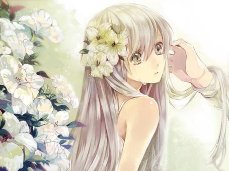 Фото Рука вытирает слезы с глаз девушки которая стоит рядом с цветами