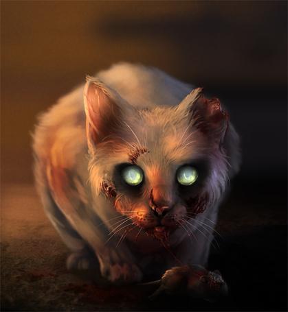 Фото Кошка-зомби, с горящими глазами и откусанным ухом, ест мышь, иллюстратор LadyAway