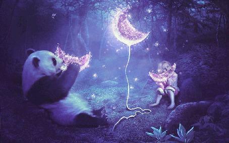 Фото Девочка с пандой едят сверкающий арбуз в ночном лесу, иллюстратор MariLucia