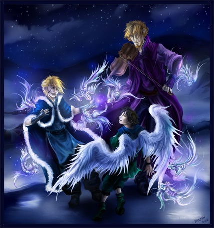 Фото Мужчина со скрипкой и два мальчика-ангела танцуют, художник Carmen Durand