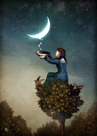 Фото Девочка сидит на дереве и собирает слезы с месяца, художник Christian Schloe