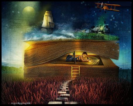 Фото Мальчик лежит в приоткрытой книге и мечтает, сны от иллюстратора roserika