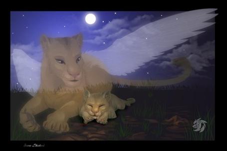 Фото Львица-ангел закрывает своим крылом спящего львенка, иллюстратор Miu3
