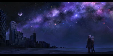 Фото Мужчина и девушка стоят в обнимку у берега моря, смотря на космическое небо, иллюстратор Megatruh