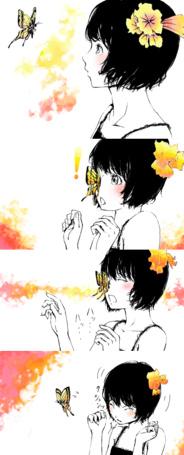 Фото Девушка с цветком в волосах, рядом с которой парит бабочка (© chucha), добавлено: 15.07.2013 12:53