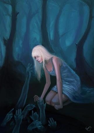 Фото Девушка сидит на коленях, из ямы к ней тянутся руки, иллюстратор k-atrina