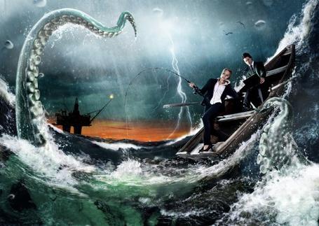 Фото Мужчина и девушка рыбачат в лодке во время грозы, из моря выглядывает шупальца осьминога, фотограф Joon Brand