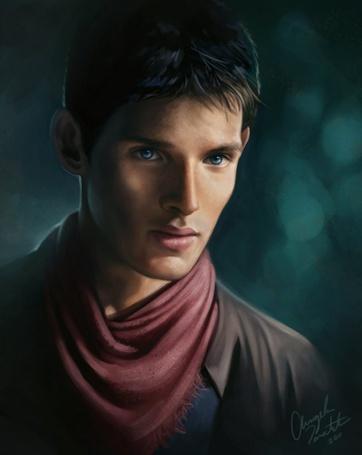 Фото Мерлин / Merlin, чью роль исполняет Колин Морган / Colin Morgan, смотрит в даль, арт по сериалу Мерлин / Merlin
