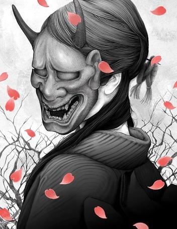 Фото Девушка в маске демона, падают лепестки роз, работа Yuta Onoda / Юта Онода