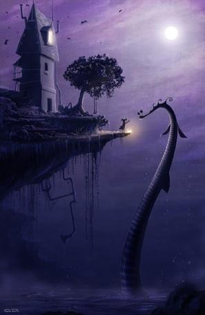 Фото Девочка, стоя на краю скалы, пытается дотронуться до водяного дракона