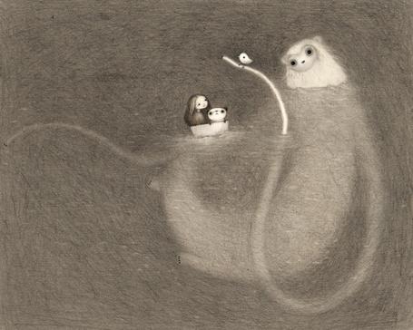 Фото Девочка и панда плывут в лодке по воде, из которой вылезает какое-то животное, на щупальце которого сидит птица