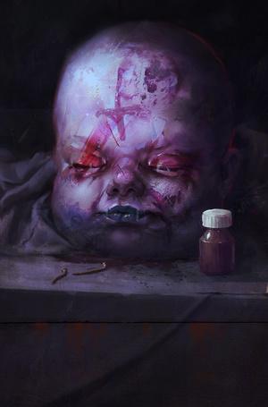 Фото Голова ребенка с зашитыми глазами, рядом стоит баночка