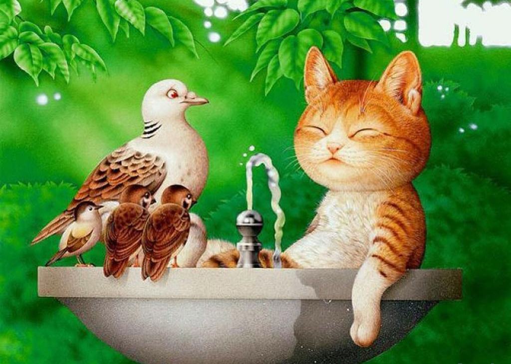 Картинки доброе утро прикольные с животными и птицами, картинках для