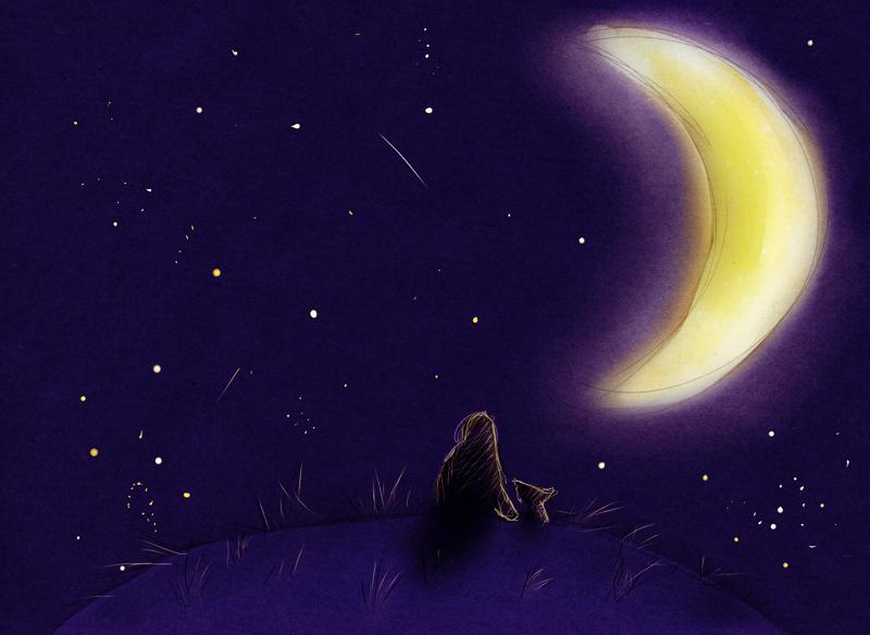 Картинка звездное небо и луна