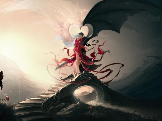 Фото парень демон и девушка с крыльями