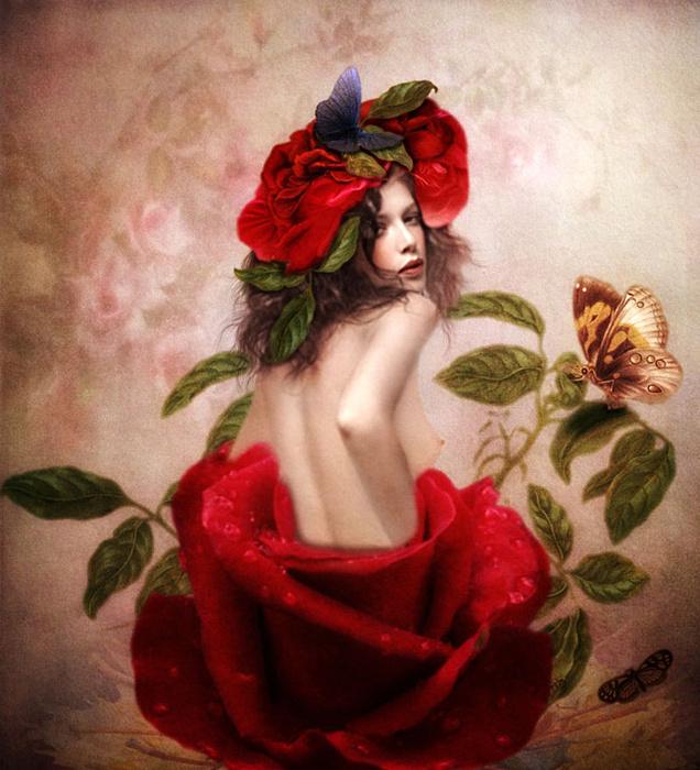 Фото картинка женщина в цветах