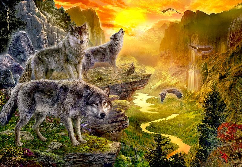 Фото Три волка на обрыве на фоне заката