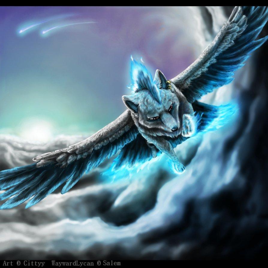 Фото Волк с крыльями летит в небе