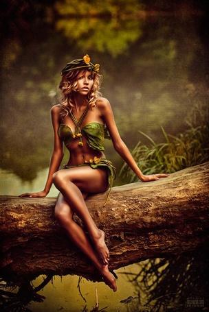 Фото Девушка сидит на бревне дерева, фотограф Svetlana Belyaeva / Светлана Беляева