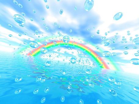 Фото Капли воды на фоне моря и радуги в небе