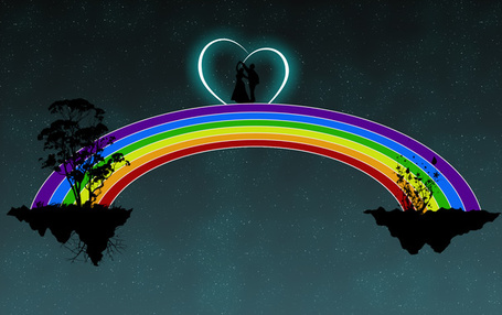 Фото Пара сошедшаяся по радуге от двух кусков планет с деревьями и висящими корнями, в ночи