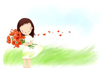 Фото Девочка в белом платье держит букет из красных маков, стоя в траве