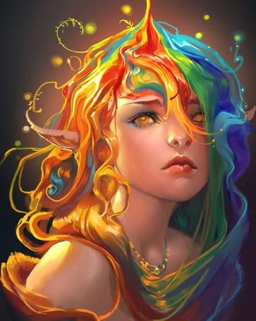 Фото Желтоглазая эльфийка с разноцветными волосами