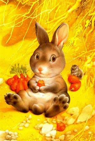 Фото Кролик с морковкой в лапах сидит на земле, рядом сидит, положив лапы на морковку, хомяк, рядом лежит еще морковка, художник Makoto Muramatsu