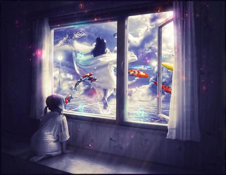 Фото Девочка сомтрит в окно, за которым девушка бежит по воде среди летающих рыб и черепахи