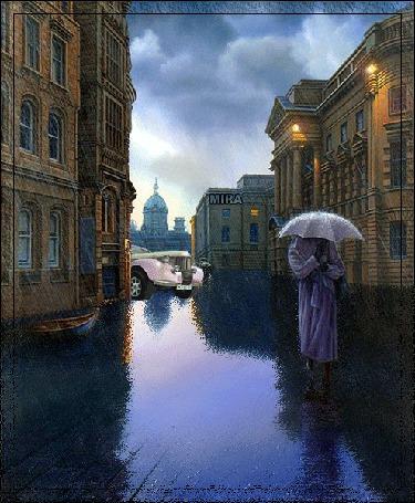 Фото Женщина в сиреневом пальто, держащая в руке зонтик, стоящая на затопленной от проливных дождей дороге, проходящей между многоэтажными домами, освещенной наружными фонарями, расположенными на стенах домов, мимо женщины проносится легковой автомобиль, возле стены дома стоит лодка, в небе сверкают молнии