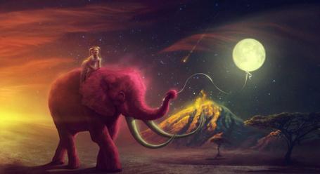 Фото Девочка сидит на розовом слоне, держащим воздушный шарик в хоботе, с неба падает звезда, иллюстрация Therese Larsson