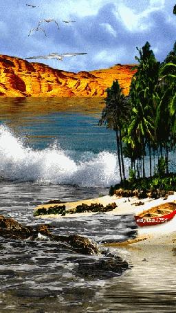 Фото Тропическое океанское побережье с растущими на берегу зелеными пальмами, стоящую на песчаной косе лодку с красными бортами, летящих в небе чаек, работа edytka 1754