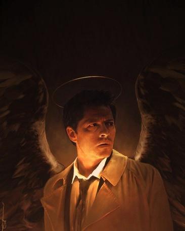 Фото Castiel / Кастиэль роль исполняет Misha Collins / Миша Коллинз, с пепельными крыльями и нимбом над головой, сериал Supernatural / Сверхъестественное