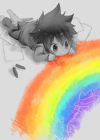 Фото Маленький Тсуна из аниме Kateikyoushi Hitman Reborn / Учитель-мафиози Реборн рисует радугу