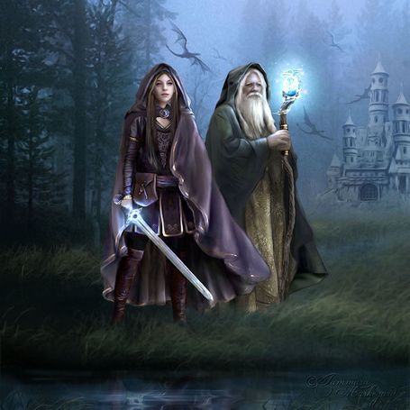 Фото Девушка и старик стоят в ночном лесу позади их замок
