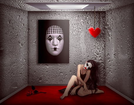 Фото Рыжеволосая девушка с длинными, красивыми волосами, маской мима на лице, усталая, опустошонная, присела на красный пол, вспоминая прошедшую молодость, успех на сцене, из нарисованной маски мима и из стен комнаты текут горестные слезы, на стене висит красное сердечко, на полу лежит красная роза, работа Nataliorion