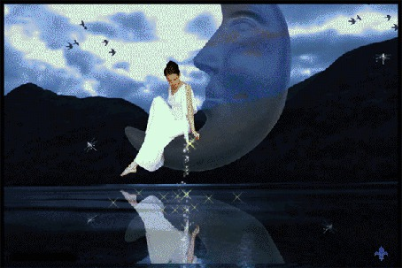 Фото Черноволосая девушка в длинном белом платье. сидящая на полумесяце в форме профиля мужчины над водной поверхностью горного озера на фоне пасмурного неба и парящих птиц