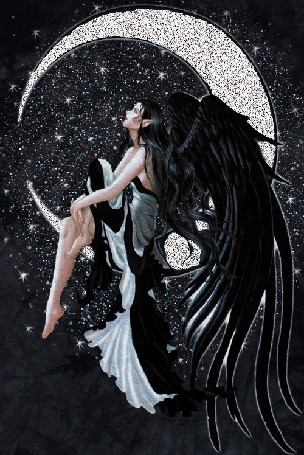Фото Девушка-ангел с черными крыльями сидит на полумесяце