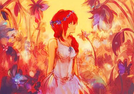 Фото Девушка с красными волосами, в белом платье, с венком из фиолетовых цветов на голове, стоит в саду среди больших цветов / SG: girl in the garden by pancake-waddle