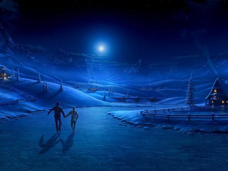 Фото Парень и девушка, взявшись за руки, катаются на коньках по льду замерзшей реки на фоне ночного неба с яркой светящейся луной