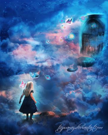 Фото Девочка идет к двери по камням, которые парят в облаках, вокруг порхают бабочки